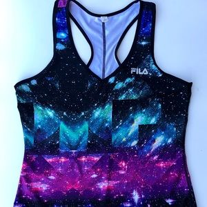 Vintage FILA Racerback Space Print Workout Top L
